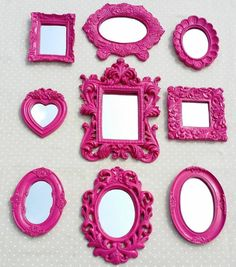 kit 10 espelhos com moldura de resina pink - decoração mega resinas Diy Wall Decor For Bedroom, Frame Wall Decor, Diy Frame, Gallery Wall Frames, Frames On Wall, Inspiration Wall, Art Decor, Home Decor, Dorm Decorations