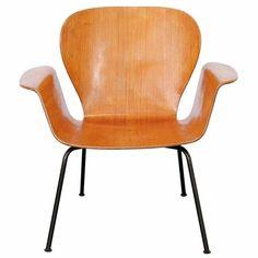'Focus' armchair, produced in Norway | A. Belokopytoff, 1950s (Similarities with Swan-chair of Arne Jacobsen).