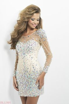 00452f79287 Deep V Back Beading Long Sleeves Nude Cocktail Dress - Sweet 16 Dresses -  Homecoming