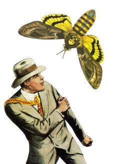 #etsy #etsyshop #dadadreams #collage #collageart #deathheadmoth #moth