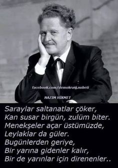 nazım hikmet şiirleri ile ilgili görsel sonucu Imagine Dragons Lyrics, Maybe Tomorrow, English Fun, Friedrich Nietzsche, Cool Words, Revolution, Literature, Interview, Poetry