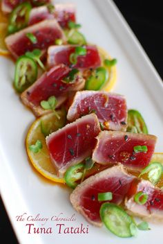Tuna Tataki: Simply pick up some beautifully fresh ahi tuna from your local fishmonger, let it marinade in lovely things like ponzu & fresh ginger— and t. Fish Dishes, Seafood Dishes, Seafood Recipes, Appetizer Recipes, Appetizers, Sushi Recipes, Cooking Recipes, Fresh Tuna Recipes, Tuna Tataki