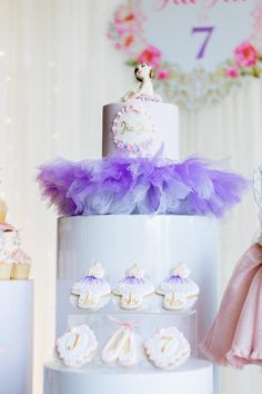 "Ballet Themed Birthday Cake + Cookies from a Ballerina ""Let's Dance"" Birthday Party on Kara's Party Ideas 