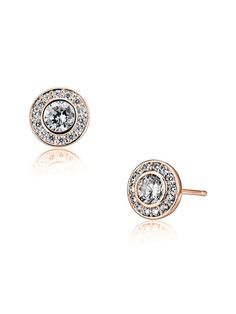 Round Cut CZ & Rose Gold Stud Earrings