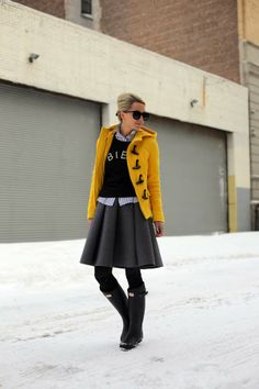Wool skirt, striped tee, black sweater, tights, boots.
