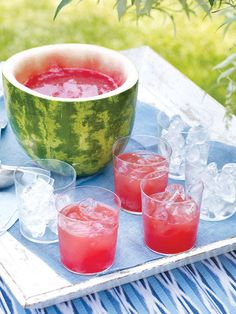 Watermelon Mojito: Ice, 4 pieces fresh watermelon, 1-inch cubes, 6 fresh mint leaves, plus mint sprigs for garnish 1/2 ounce fresh lime juice, 1/2 ounce simple syrup, 2 1/2 ounces good white rum, soda water. Fill a double rocks glass with ice. Muddle the watermelon and mint leaves in a cocktail shaker. Add ice and the lime juice, simple syrup, and rum and shake vigorously. Strain into the glass filled with ice and top with soda water. Garnish with mint sprigs and serve. X