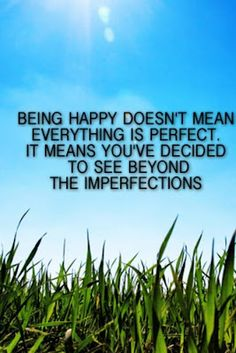 It means that u have accepted the good with the bad in life and no matter how much of an annoyance the imperfections seem, they r not going to get in the way of happiness.