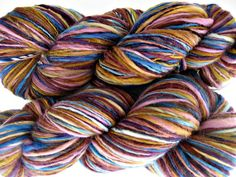 Handmade Merino Yarn Blue Orange Purple Wild Child by dye2spin, $34.00