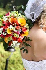 orange, red, yellow wedding bouquet