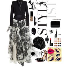 hijab style for party... by adikrisnadee on Polyvore featuring polyvore fashion style Notte by Marchesa Alexandre Vauthier Christian Louboutin Rocio Anne Klein LORAC Lancôme Lord & Berry Guerlain