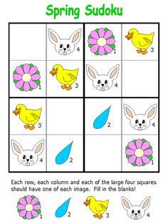 modello Sudoku Puzzles, Printable Puzzles, Logic Puzzles, Quiet Time Activities, Easter Activities, Infant Activities, Preschool Colors, Preschool Themes, Kindergarten Activities