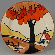 House & Bridge, teaplate, This is actually a rare plate featuring no banding,…, Clarice Cliff pottery in the Online Museum Pottery Painting, Pottery Art, Pottery Bowls, Clarice Cliff, Cliff House, Art Deco Period, Vintage Pottery, Art Deco Design, Ceramic Artists