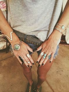 Black nails and layered silver trinkets - that's the way to nail festival chic #Missguided #nailenvy