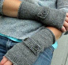 dark oxford grey hand knit fingerless gloves. I am going to try to make this :)