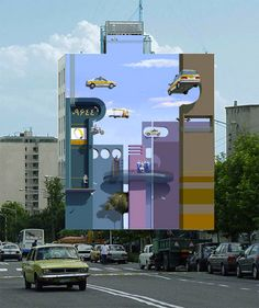 Optical Illusion Murals in Tehran ~ Flying cars, accordion-like architecture and human figures clinging to the sides of buildings are among the optical illusions that can be spotted all over the sides of buildings in Tehran by artist Mehdi Ghandyanloo.