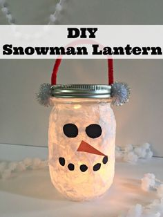 "Simple snowman craft for kids. You probably have everything that you already need to make this DIY lantern snowman for your ""glow loving"" kids! Mason Jar Snowman, Mason Jar Christmas Crafts, Christmas Crafts For Kids To Make, Snowman Crafts, Mason Jar Crafts, Mason Jar Diy, Diy Crafts For Kids, Kids Christmas, Kids Diy"