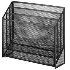 Amazon.com : Halter Universal Steel Mesh Three Slot Standing File Organizer - Black - 2 Pack : Office Products