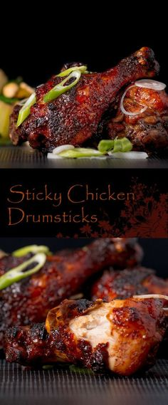Sticky Drumsticks Recipe: Finger Licking Sticky Chicken Drumsticks coated with a rich and dark glaze heavy with chili, perfect from the oven but would work equally well on a BBQ! Chicken Drumstick Recipes, Easy Chicken Recipes, Turkey Recipes, Dinner Recipes, Turkey Drumstick Recipe, Chicken Drumstick Marinade, Bbq Chicken Marinade, Braised Chicken, Potato Recipes