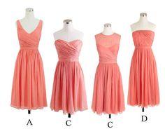 short bridesmaid dress, peach bridesmaid dress, cheap bridesmaid dress, mismatched bridesmaid dress, BD14320