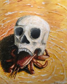 Skull Crab. A hermit crab has found a new home in a human skull. The unknowing crab wades through the shallows of a tropical beach dragging its eerie home with it.