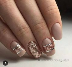 Thirds glitter nail art in silver and pink nude