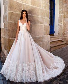 Bruidsjurk prinsessen model kant & tule met illussion rug