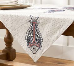 Kissing Fish Embroidered Table Throw #potterybarn