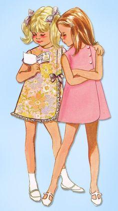1960s Vintage Butterick Sewing Pattern 5256 Cute Toddler Girls A-line Dress Sz 5