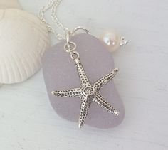 Scottish Sea Glass and Sterling Silver Starfish Necklace - BEACH STAR £26.50