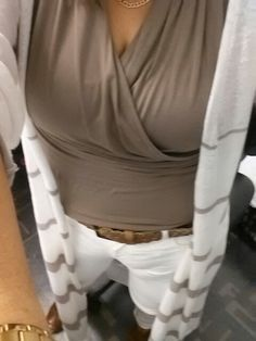 CAbi Ruby jeans in white, wrap top and Riviera sweater