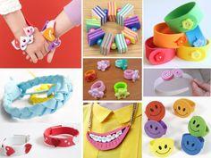 Pulseras y anillos de goma eva para niños