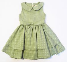 Peter pan collar Decorative bow in front Hidden zipper in back Approximately knee length cotton **DRESS IS READY TO SHIP Wedding Dresses For Girls, Dresses Kids Girl, Kids Outfits, Baby Girl Frocks, Frocks For Girls, Frock Design, Traditional Dresses For Kids, Cotton Frocks For Kids, Frock Patterns