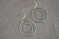 Metal Wire Swirl Earrings Gold Color by ForestBeads, $9.99