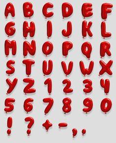 Red Balloon fonts alphabet