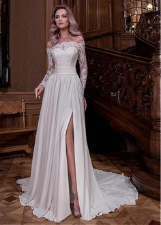 Buy discount Fabulous Tulle & Satin Chiffon Off-the-shoulder Neckline A-line Wedding Dresses With Slit & Beaded Lace Appliques at Dressilyme.com