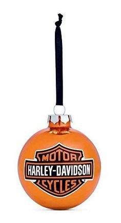 Harley-Davidson Bar  Shield Logo Ball Ornament, Orange Christmas. 99203-14V  Price : $9.95 http://www.wisconsinharley.com/Harley-Davidson-Shield-Ornament-Christmas-99203-14V/dp/B00IYXU442