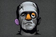 Divertido diseño de camiseta Frankenstein +  Mr Potato Artista Naolito