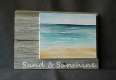Hand painted seascape on canvas, Beach, Cottage, upcycled , Wall art, Distressed, barnwood, Reclaimed Wood Pallet Art, Sunshine, Shabby Chic