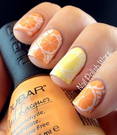 Nail Polish Wars: Citrus Sparkle, fruit,  Orange & lemon slices,  stamping nail art