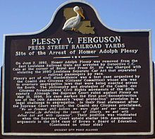 "On June 7, 1892 Homer Plessy bought a first class ticket and boarded a ""whites only"" car of the East Louisiana Railroad in New Orleans. This was a test case organized by the Comite de Citoyens, with Plessy being chosen for ""being white enough to gain access to the train and black enough to be arrested for doing so."" After four years in court it ended in the landmark Plessy v Ferguson decision of 1896 upholding the constitutionality of ""separate but equal"" facilities. #TodayInBlackHistory"