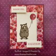 Aromas and Art - Page 10 of 264 - Su Mohr, Independent Stampin' Up! Demonstrator, and Independent Young Living Distributor Stampin Up Paper Pumpkin, Get Well Cards, Animal Cards, The Balloon, Art Pages, Stamping Up, Kids Cards, Paper Design, Stampin Up Cards
