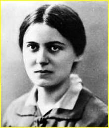 St. Edith Stein d. 1942 St. Theresa Benedicta of the Cross.   Philosopher. A colleague of Husserl and Heidegger who later converted to Catholicism and became a Carmelite nun. She was arrested by the Nazis and executed in Auschwitz. A martyr to the faith.