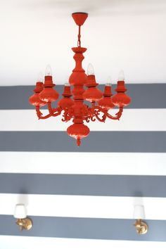 Laura Lusena: From Old to Bold / interior & design / DIY / easy / project / lamp / chandelier / orange Interior Design Inspiration, Color Inspiration, Design Ideas, Orange Chandeliers, Love Design, Easy Projects, My Room, Easy Diy, Feature Walls