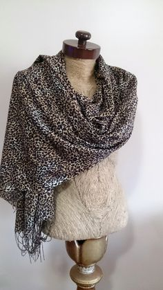 Animal Leopard scarf, leopard print scarf cotton leopard scarf wide scarf coverup scarf scarf with fringe gift for her #etsyfinds by AtlasScarf on Etsy