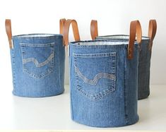 SET of 2 recycled denim canvas storage bag with a fresh white blue flower lining and leather straps, jeans toys bag Fabric Storage, Toy Storage, Storage Baskets, Jean Crafts, Denim Crafts, Artisanats Denim, Blue Denim, Toy Bins, Leather Apron