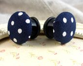 Browse unique items from MyPinupPlugs on Etsy, a global marketplace of handmade, vintage and creative goods. Polka Dot Fabric, Blue Polka Dots, Plugs, Navy Blue, Button, Luxury, Store, Lady, Creative