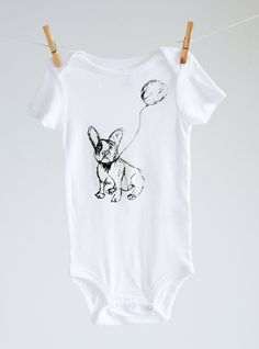 Hand Sketched Dog and Balloon Baby Onsie