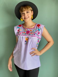 Multicolor floral embroidery mexican blouse women, lilac gingham style top, cotton short sleeve boho shirt, sayulita vacation, summer shirt Mexican Top, Mexican Blouse, Mexican Outfit, Gingham Fabric, Blue Gingham, Gingham Dress, Fiesta Outfit, Picnic Outfits, Smock Dress