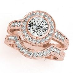 Brilliant round D/VVS1 Diamond In Bezel Set 14k Rose Gold Plated Bridal Ring Set #giftjewelry22