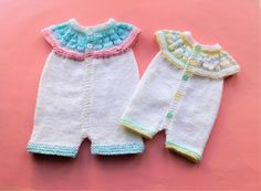 Marianna's Lazy Daisy Days: Top Down All-in-One Romper Suits Baby Cardigan Knitting Pattern Free, Baby Booties Free Pattern, Baby Boy Knitting Patterns, Baby Clothes Patterns, Baby Hats Knitting, Baby Patterns, Charity Knitting, Knitting Kits, Free Knitting